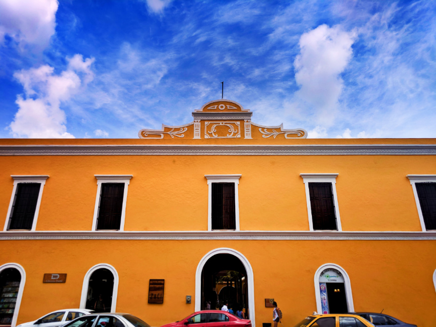 Colorful buildings in town square in Valladolid Yucatan road trip 3