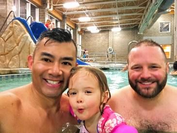 Rich SkiLikeADad family pic in Avon Rec Center Colorado 2018 3