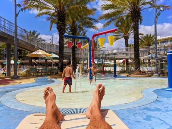 Taylor Family by kids splash zone pool at Universal Cabana Bay Resort Orlando Florida 2