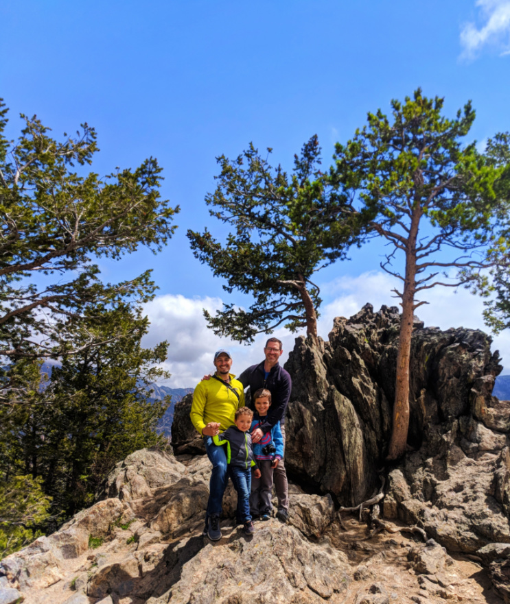 Taylor Family on rocks in Rocky Mountain National Park Colorado 3