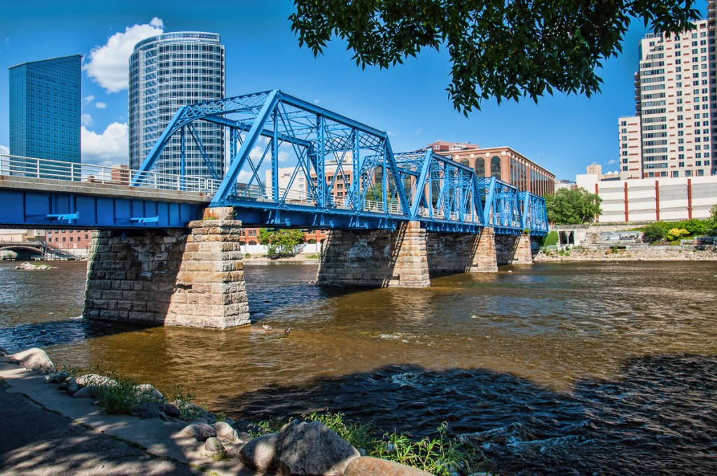 The well-known Blue Bridge crossing the Grand River in downtown Grand Rapids