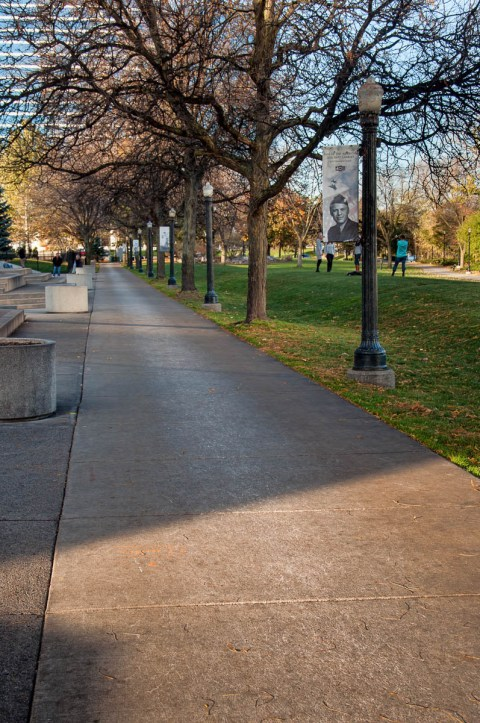 Walkway through the park behind the Gerald R. Ford Museum