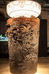 12-foot tall wood carving of a pint of Guinness Stout
