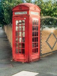 Iconic London red phone booth