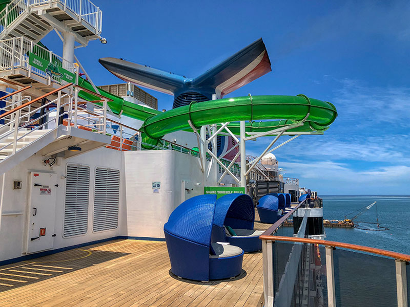 The Carnival Spirit water slide