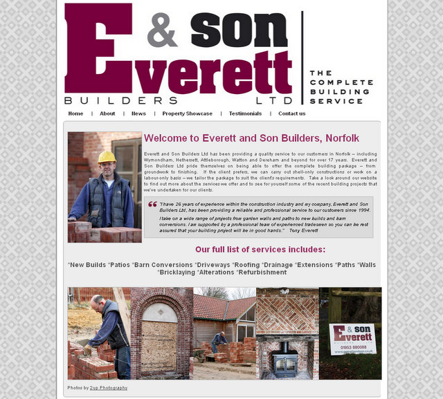 Everett and son website screen grab