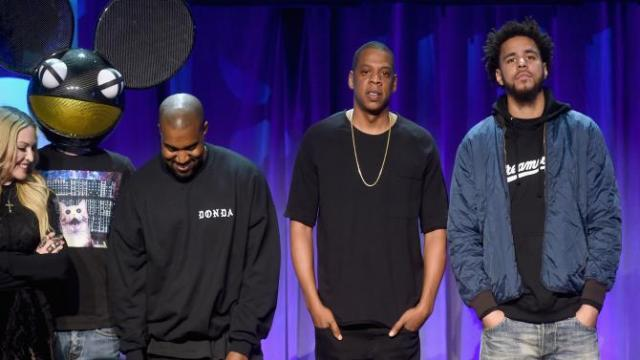 Madonna, Deadmau5, Kanye West, Jay Z and J. Cole onstage at the Tidal launch event #TIDALforALL at Skylight at Moynihan Station on March 30, 2015, in New York City. JAMIE MCCARTHY/GETTY IMAGES FOR ROC NATION