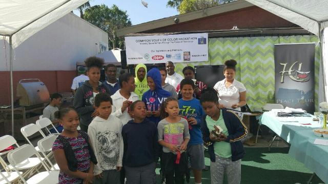 The young contestants in the Compton Youth of Color Hackathon ages 8 to 16. (photo: Dhat Stone Academy)