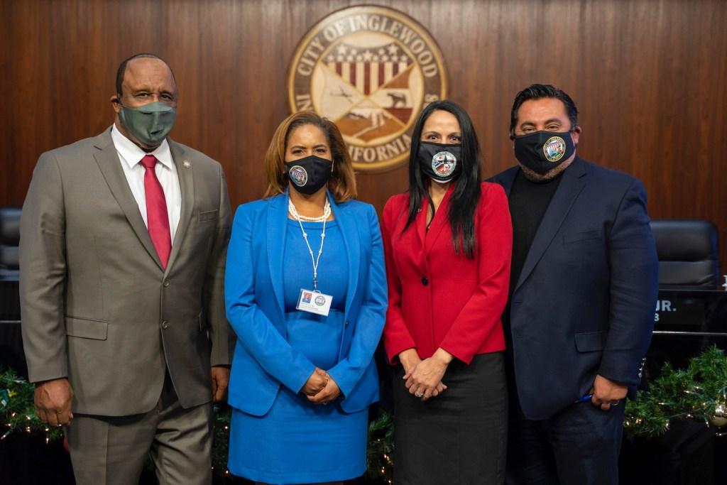 Mayor James T. Butts Jr., Councilwoman Dionne Faulk, Dr. Erika Torres, and Councilman Eloy Morales