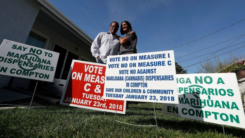 Compton residents James and Charmaine Hays put together a volunteer-based, grass-roots campaign to stop efforts to allow marijuana sales in their city.(Luis Sinco / Los Angeles Times )