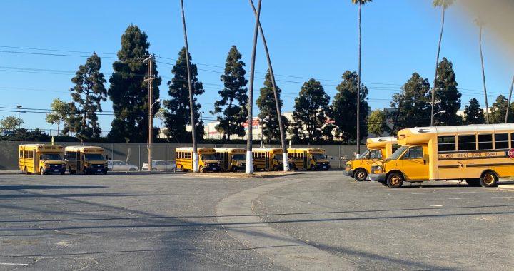 Inglewood Unified bus yard at Morningside High School. (photo: 2UrbanGirls)