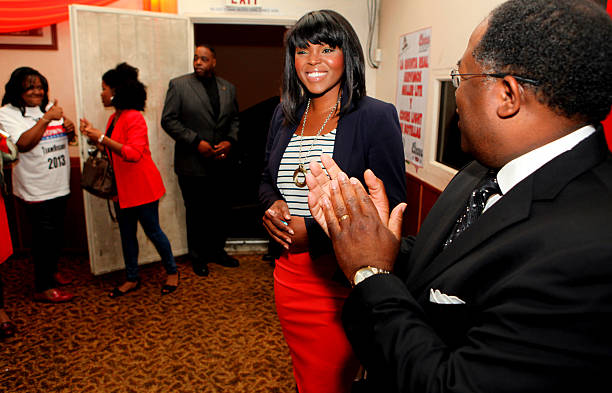 Compton mayoral candidate Aja Brown is greeted by Los Angeles County Supervisor Mark Ridley-Thomas, right, at her victory party June 4 2013 in Compton.  (Photo by Brian van der Brug/Los Angeles Times via Getty Images)