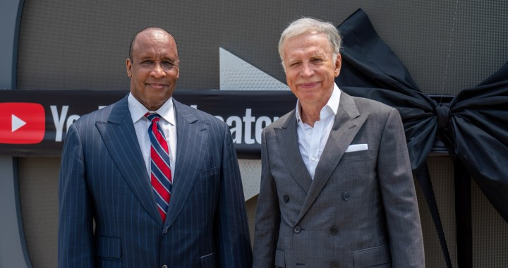 Inglewood Mayor James Butts and Los Angeles Rams owner Stan Kroenke attend the opening of YouTube theatre at SoFi Stadium August 9. (Credit: City of Inglewood)