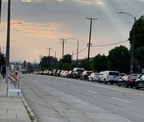 Traffic at standstill trying to get to SoFi Stadium August 14, 2021.