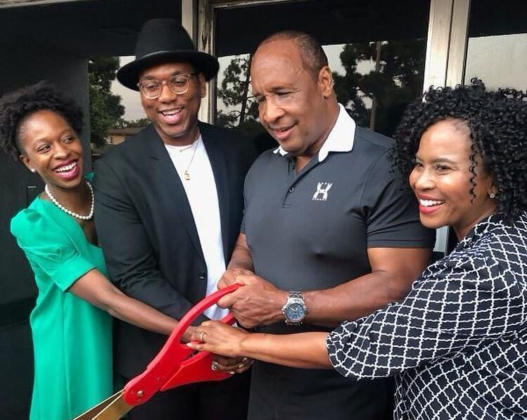 Inglewood Mayor James T. Butts Jr. and Councilwoman Dionne Faulk attend a ribbon cutting ceremony in her district.
