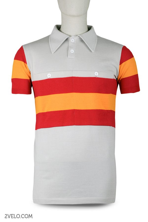 Wool cycling jersey – 2velo- Spain front with pocket front