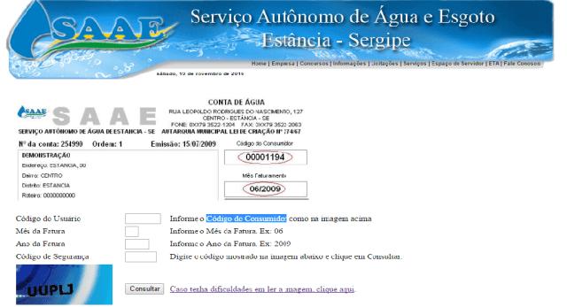 2 via conta saae sergipe