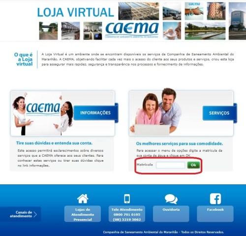 caema 2 via - págima de consulta (agência virtual)