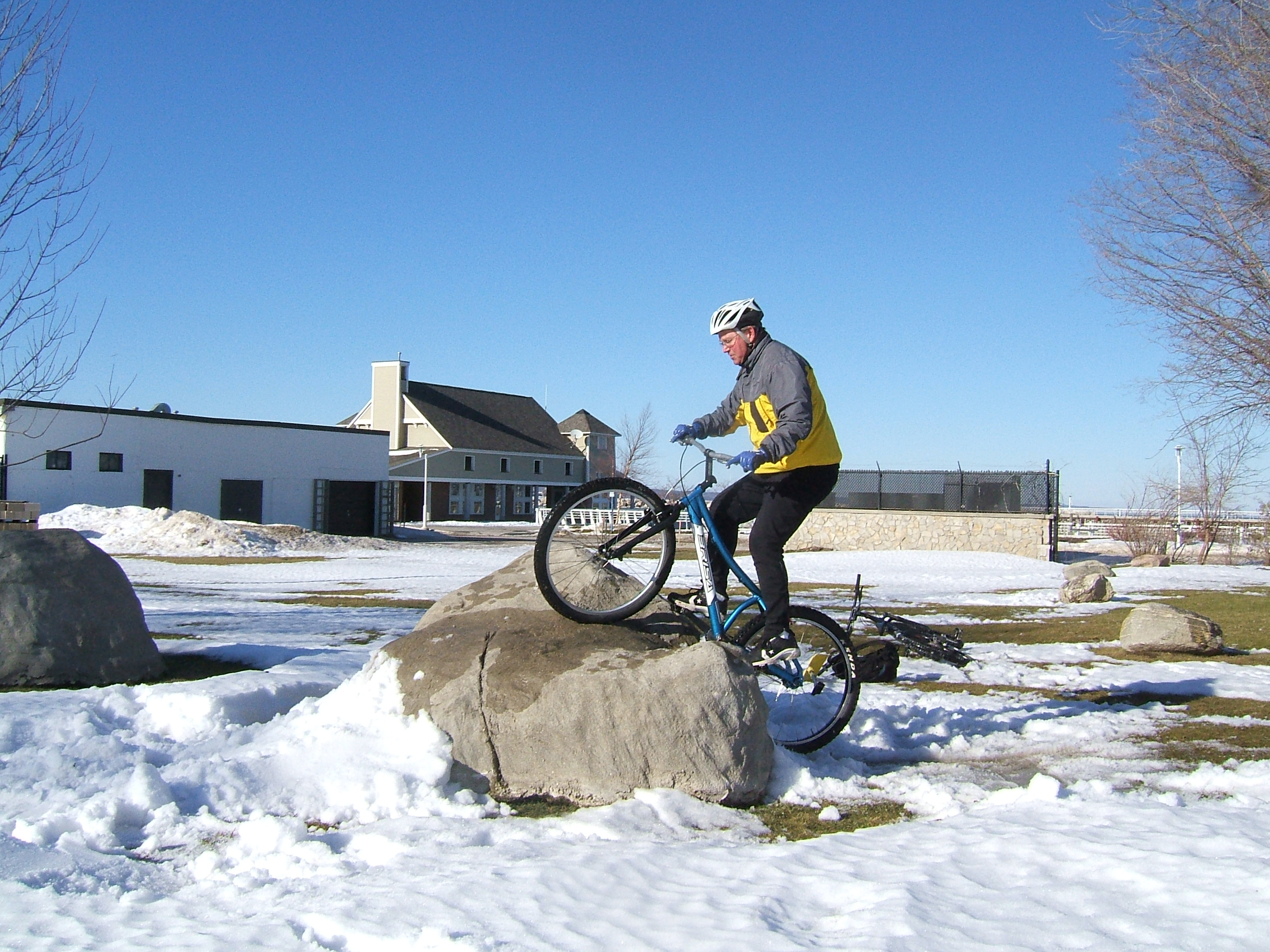 We made some snow ramps, but they made it harder to ride the rocks - the snow was too soft