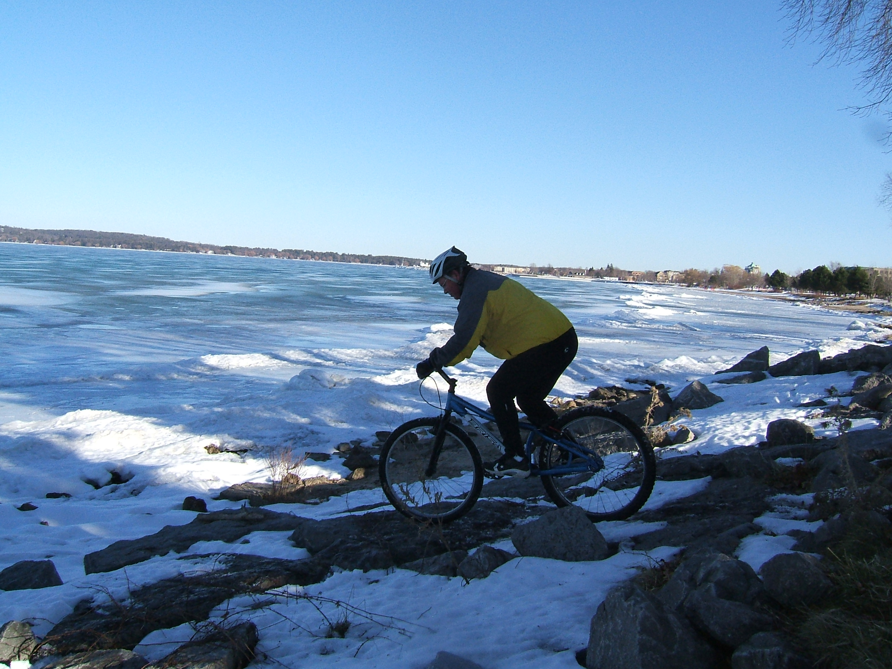The snow really added to the challenge of riding the rocks by west end beach