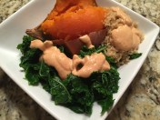 "Sweet potato, quinoa, kale with ""crack sauce"". (Fondly named as it is quite addictive!)"