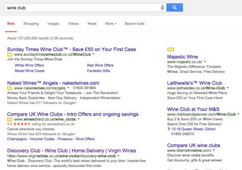 wine club - google SERPs paid