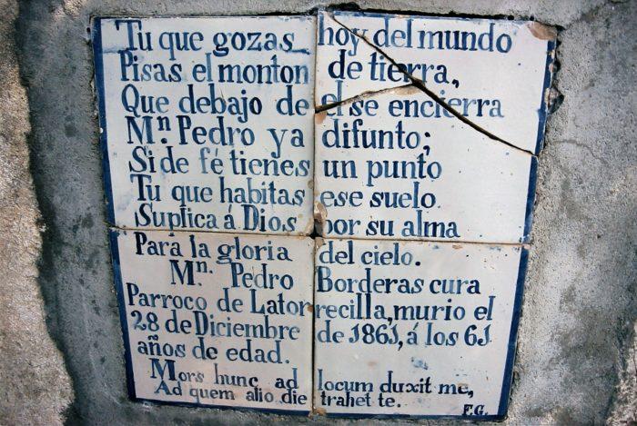 Recordatorio de Mosén Pedro Borderas en Latorrecilla