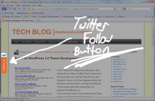 Add Twitter Follow Button to Left Side of Website