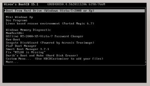 Hiren's Boot CD Screenshot