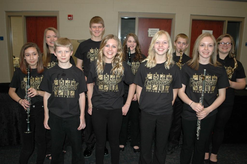 8th Grade Honors Band - standing - Abbie Staff, Parker Windjue, Lauren Fields, Riley Frank, Abbygayle Herman, front row - Sabrina Ortiz, Matt Baken, Kaitlyn Molis, Jessica Zimmerman, Halle Geiger