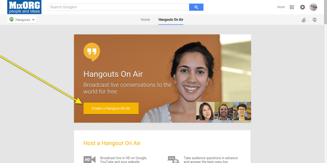hangouts on air demo - create a new hangout