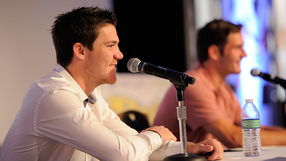 Andrew Shaw speaking at the Blackhawks Convention