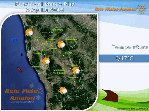 Previsioni meteo a Pisa: piogge in serata