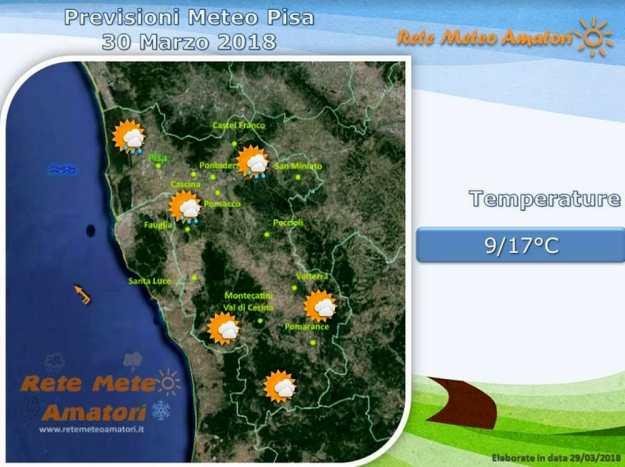 Previsioni meteo a Pisa: nuvole e possibili piogge