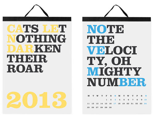 The Best 2013 Modern Calendars in style fashion home furnishings featured art  Category