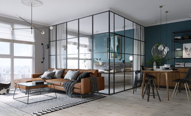 A Compact Apartment in Kiev with a Glass-Enclosed Bedroom