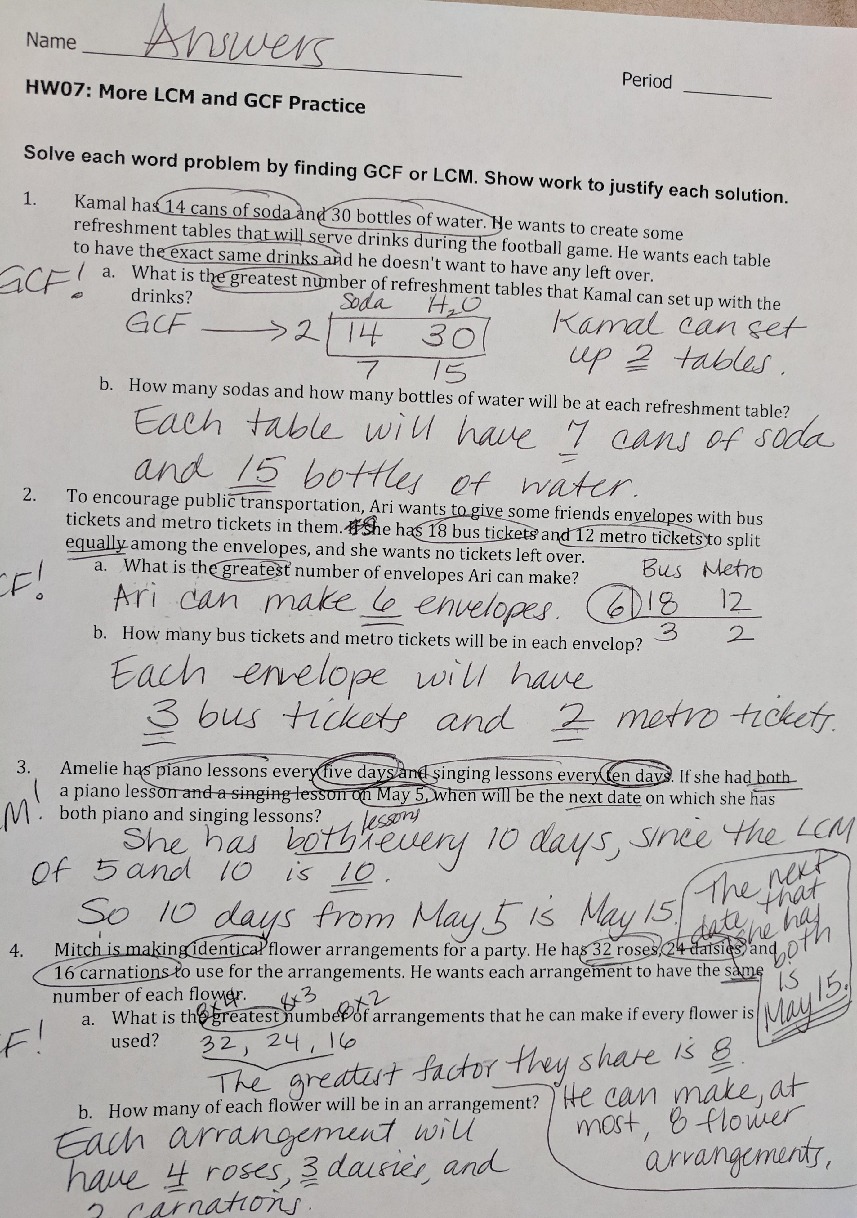 Gcf And Lcm Word Problems Answer Key
