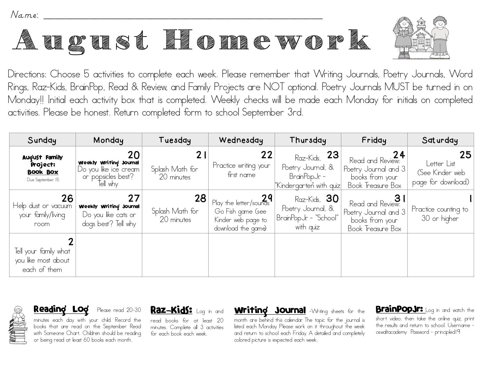Homework Kindergarten Stanley G Oswalt Academy
