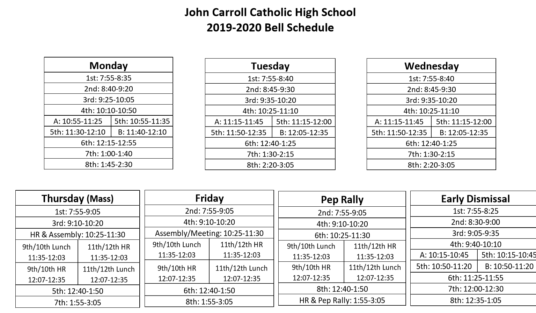 Bell Schedule Amp Summary Calendar Students John Carroll