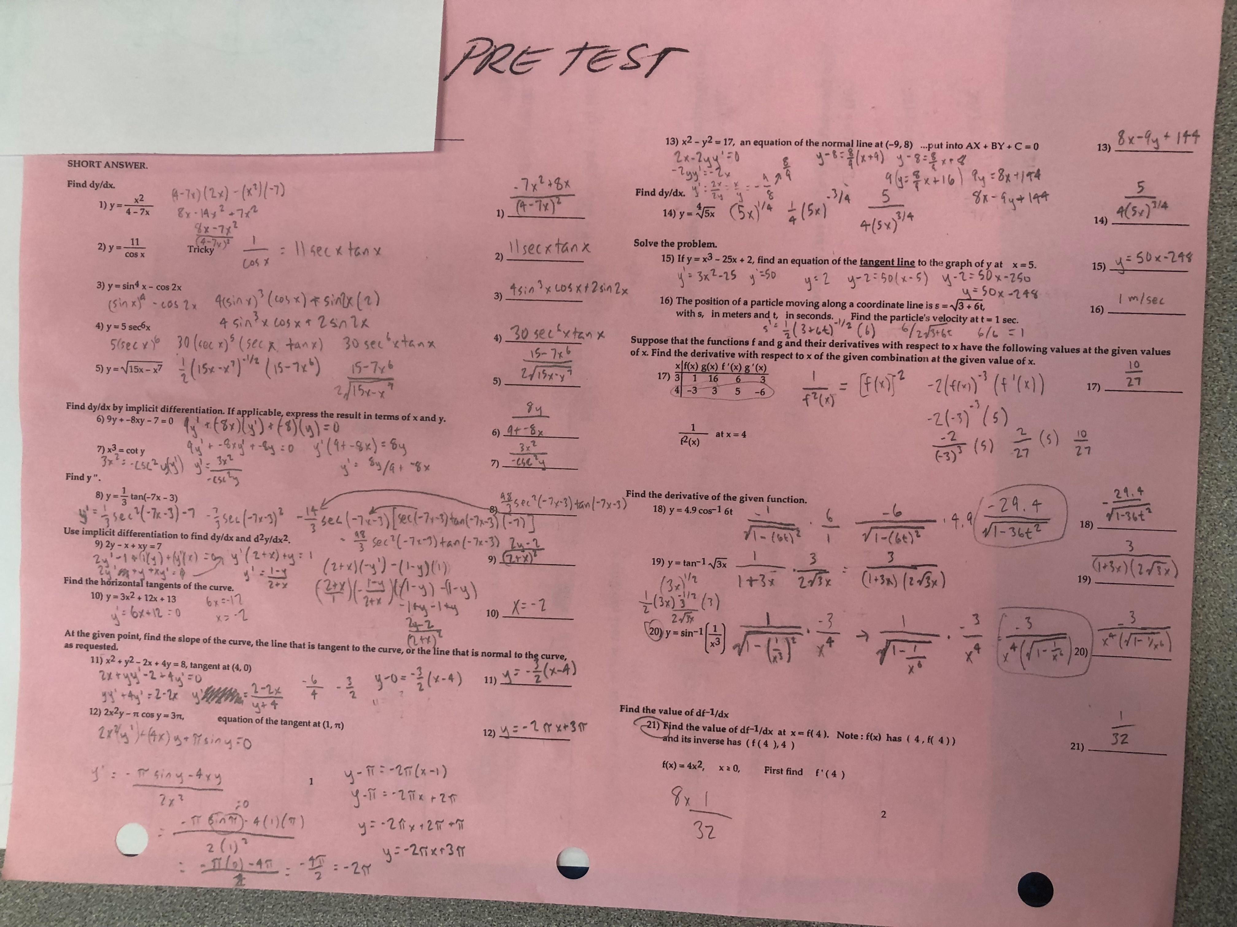 Ap Calculus Summer Worksheet Answers