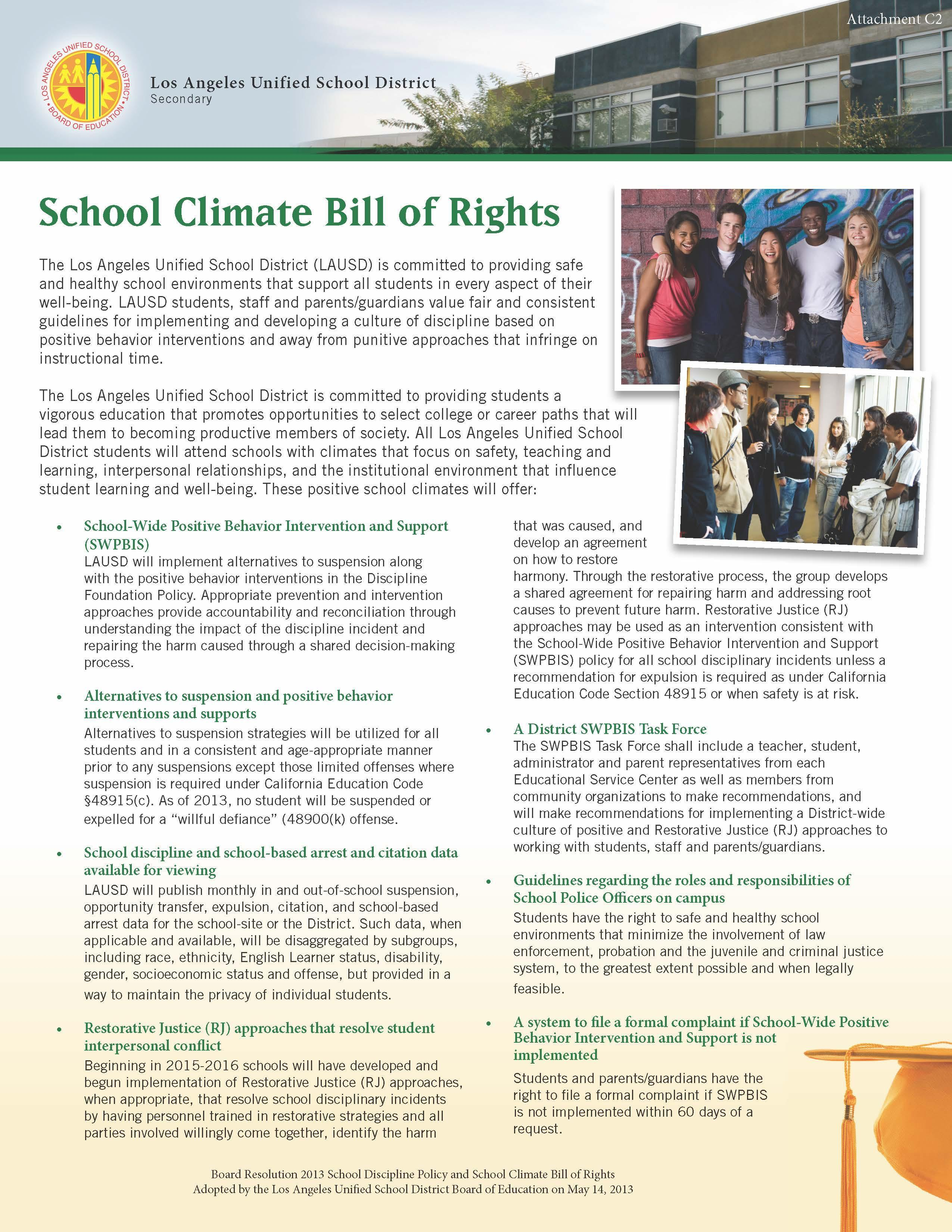 School Climate Bill Of Rights About Us Nathaniel