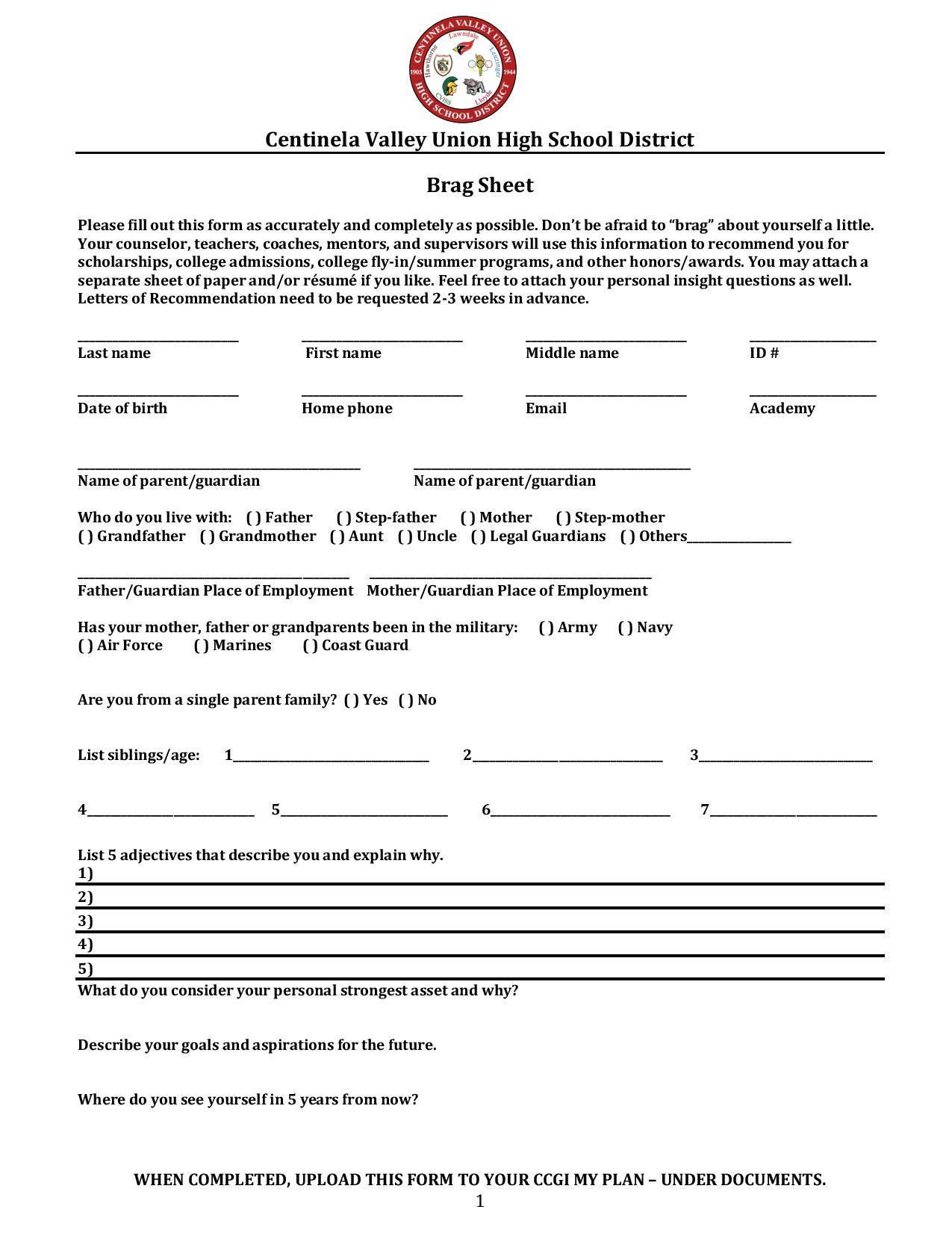 Brag Sheet Letter Of Rec Counseling Lawndale High School