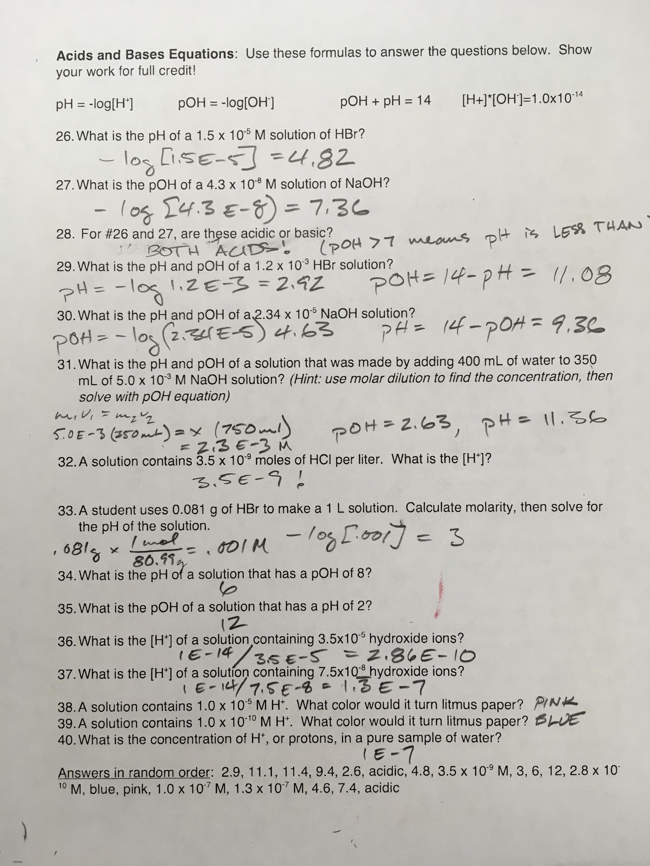 Chemistry Unit 1 Worksheet 6 Dimensionalysis Answer