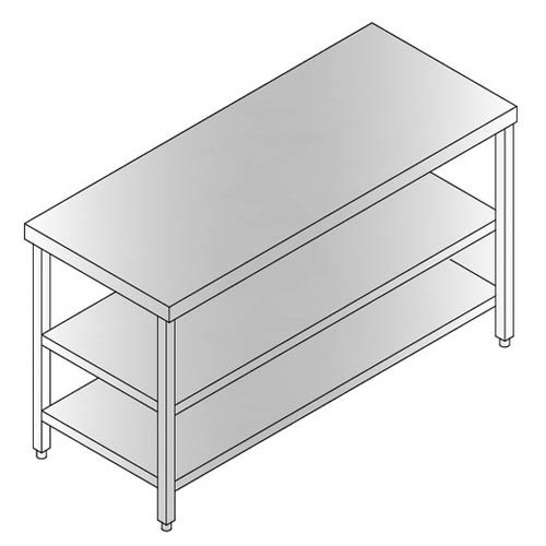 work table with under shelf and middle shelf