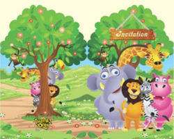 jungle theme birthday invitation cards with envelopes