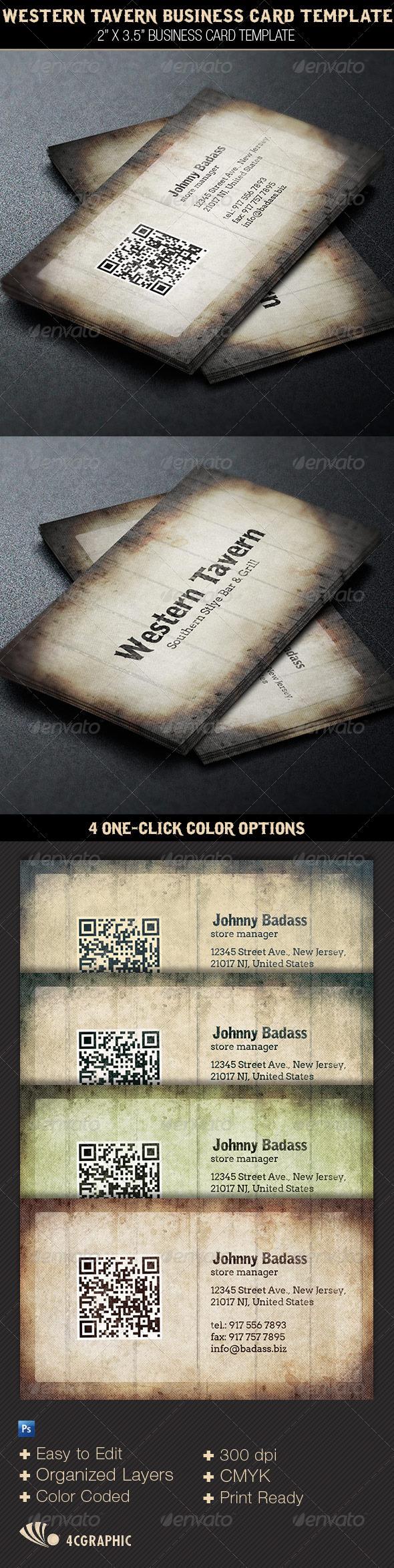 Western Tavern Business Card Template