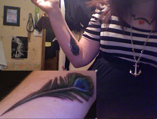 Following the Peacock feather trend on my left forearm.