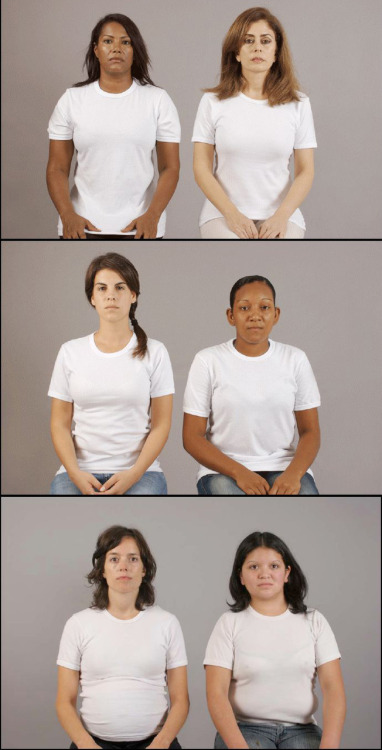 """An interesting photo project, called Lugar Común (Common Place), designed to disrupt our acceptance of established social hierarchies. The photographers, Justine Graham and Ruby Rumié, took pictures of 50 pairs of women — maids and their employers — located in Argentina, Chile, and Colombia.To disrupt the hierarchy inherent in their relationship, Graham and Rumié had them dressed alike, without accessories, and sitting in identical poses. By doing so, they allowed both women to """"…look at the camera with the same pride, with the same openness"""". The viewer is not told which woman is which. They also asked each pair to sit across from one another and look in each others' eyes. Even though some had known each other for 30 years or more, Graham said that all of the pairs had trouble looking at each other in this way. from"""