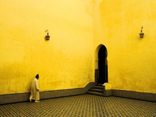 It's amazing what can happen when we are not afraid of color…    Photograph by Bjoern Obst | A beautiful room of yellow in the shrine of Moulay Ismail, Meknes, Morocco.