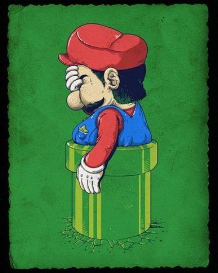 Mario atascado en una tuberia